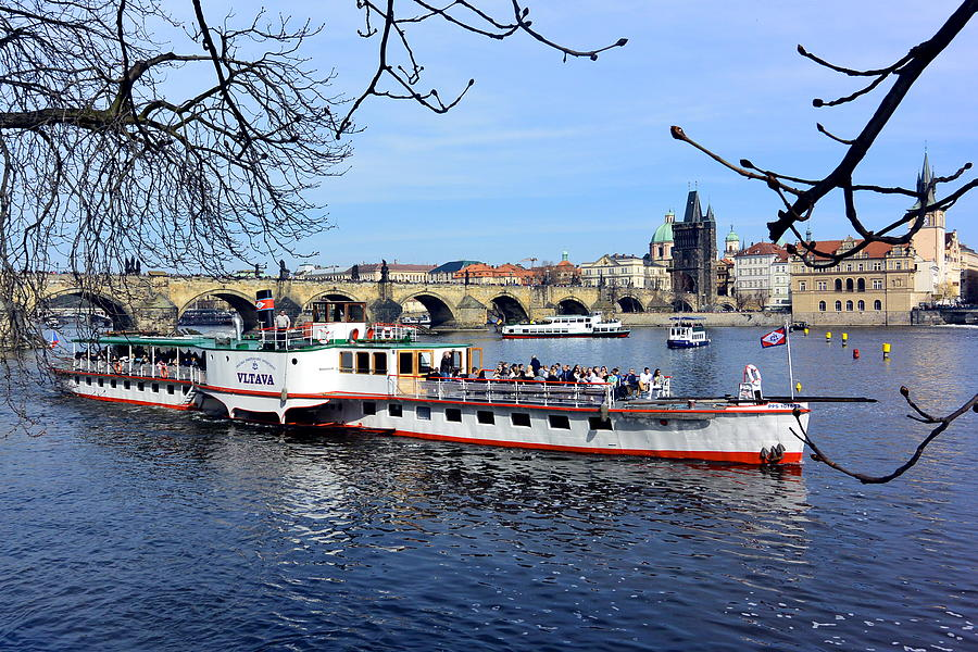 Charles Bridge Photograph - Prague River Boat On The Vltava by Two Small Potatoes