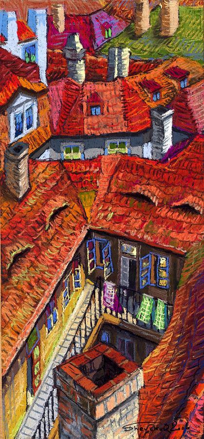 Pastel Painting - Prague Roofs 01 by Yuriy  Shevchuk