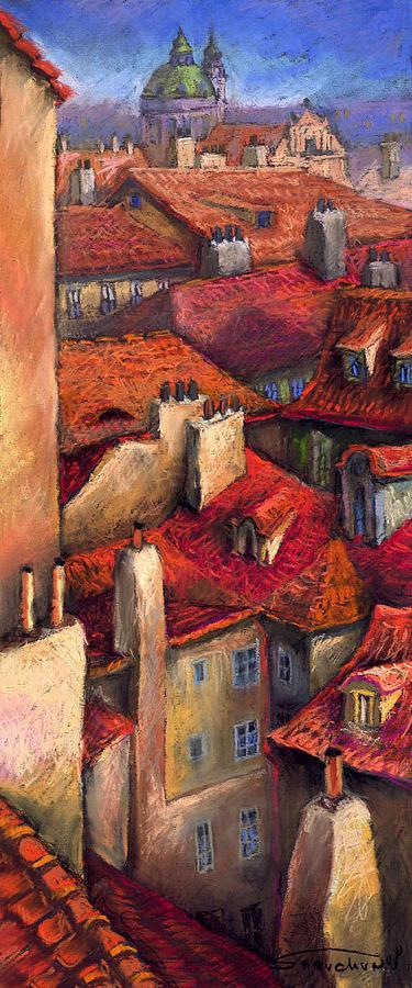 Prague Painting - Prague Roofs by Yuriy  Shevchuk