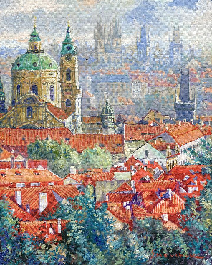 Acrylic Painting - Prague Summer Panorama 1 by Yuriy Shevchuk
