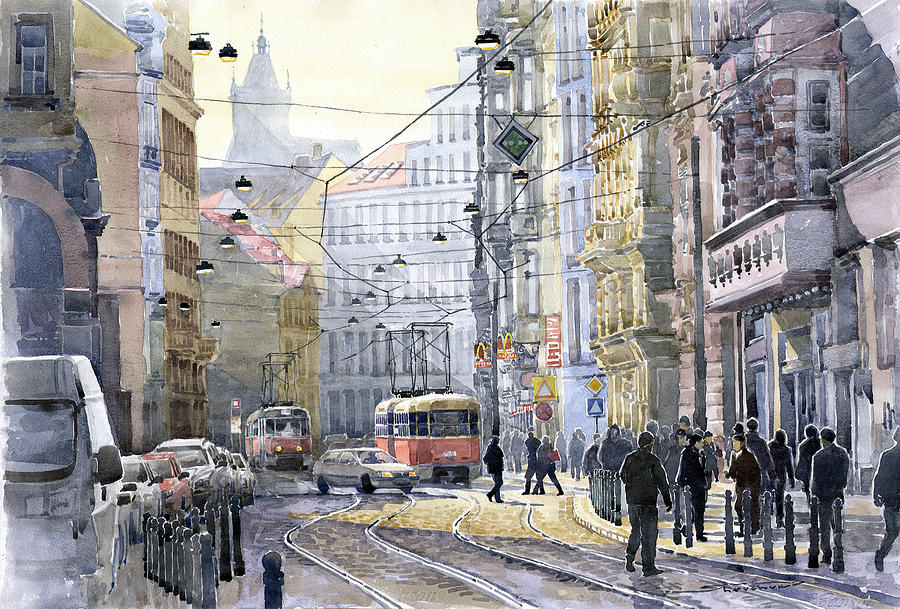 Watercolor Painting - Prague Vodickova Str by Yuriy  Shevchuk