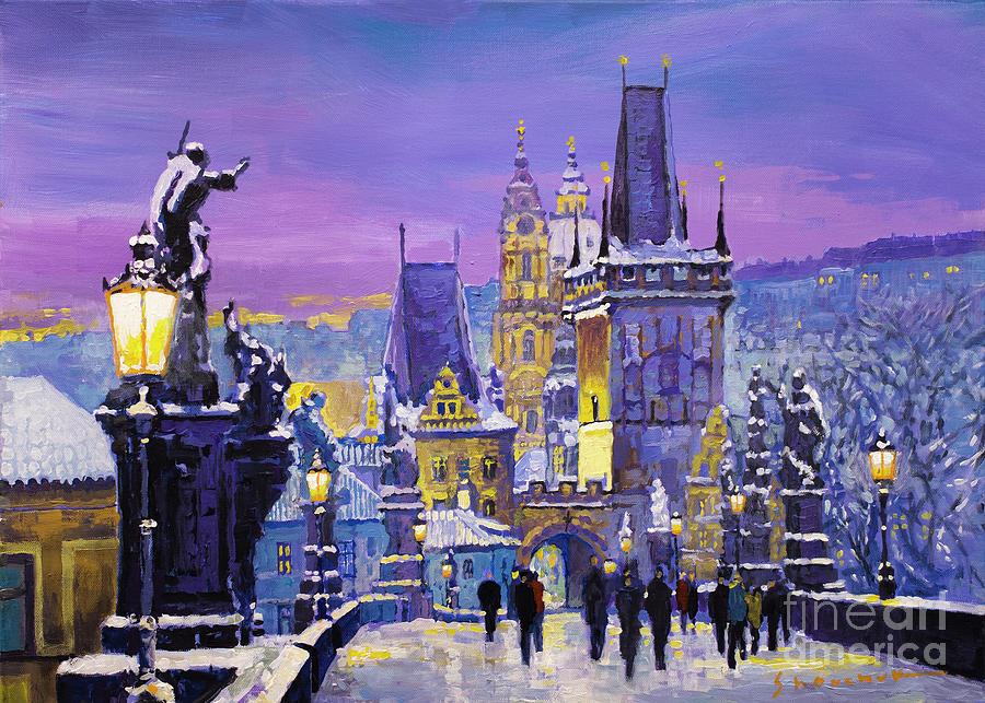 Oil Painting - Prague Winter Charles Bridge 3 by Yuriy Shevchuk
