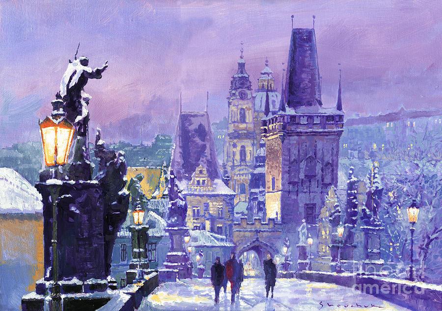 Oil Painting - Prague Winter Charles Bridge by Yuriy Shevchuk