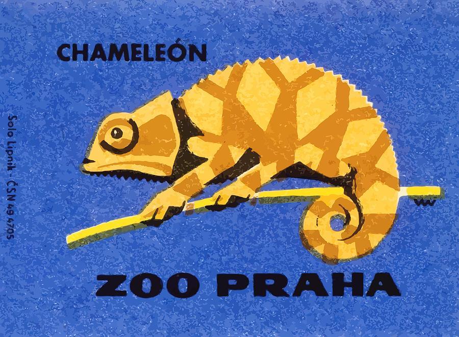 Chameleon Digital Art - Prague Zoo Chameleon Matchbox Label by Retro Graphics