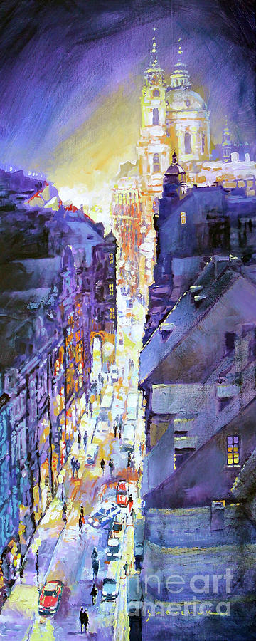 Painting Painting - Praha Mostecka Str. Winter Evening by Yuriy Shevchuk