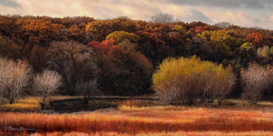 Autumn Landscape Drawing - Prairie Autumn Stream by Bruce Morrison