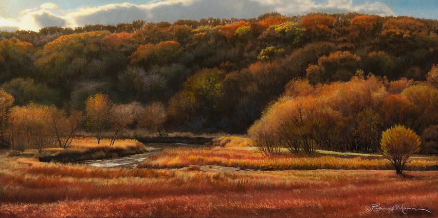 Autumn Landscape Drawings Drawing - Prairie Autumn Stream No.2 by Bruce Morrison