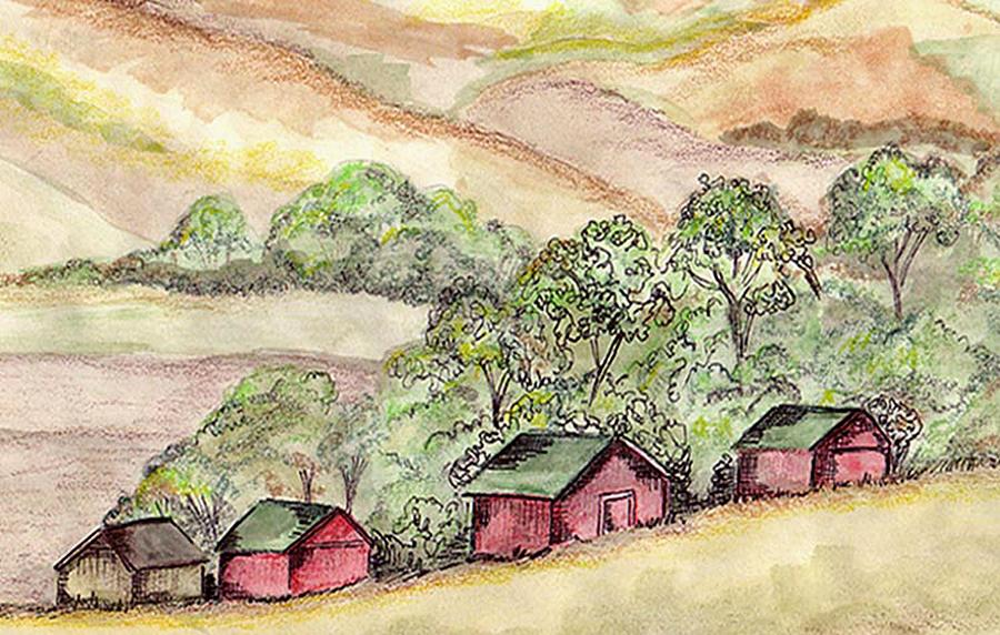 Barns Painting - Prairie Barns by Denny Phillips