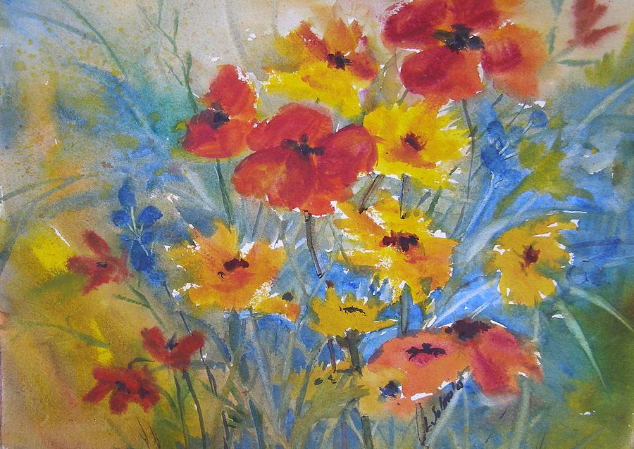 Watercolor Painting - Prairie Blooms by Laurie Salmela