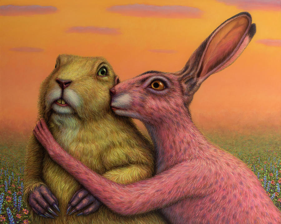 Couple Painting - Prairie Dog and Rabbit Couple by James W Johnson