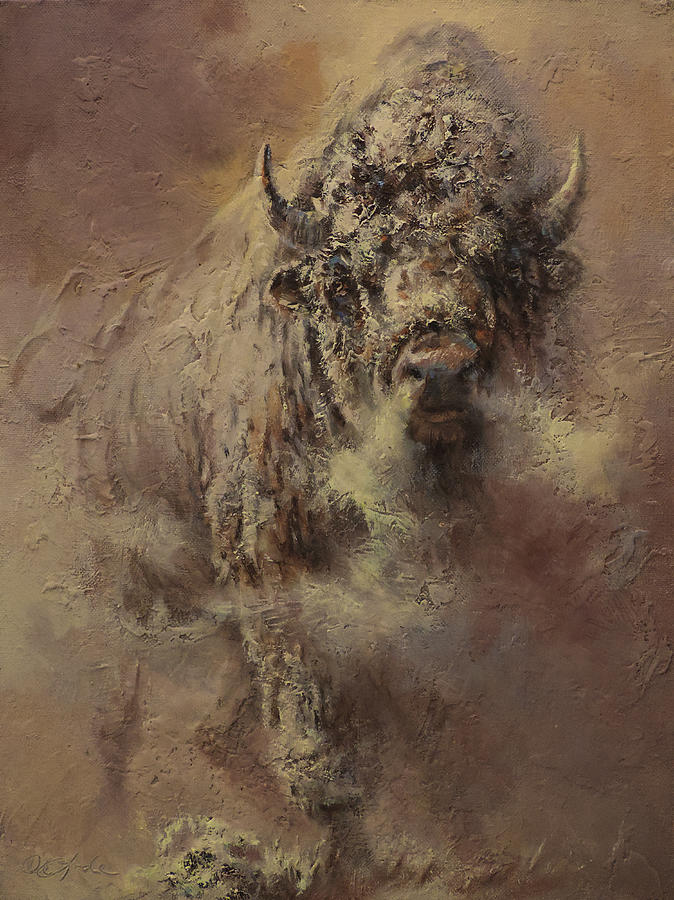 Bison Painting - Prairie Frost by Mia DeLode