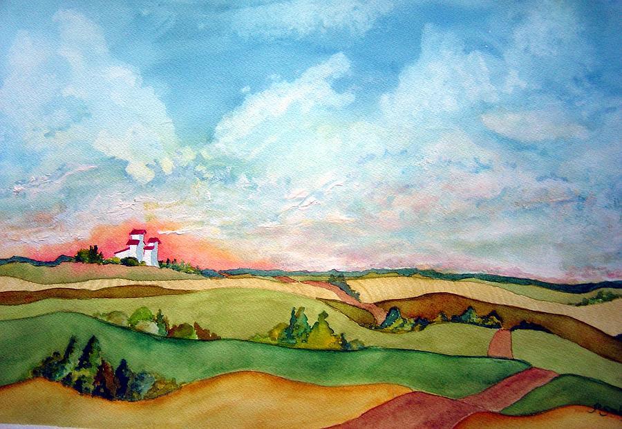 Prairie Sky Painting - Prairie Grain Elevators by Jo Smoley