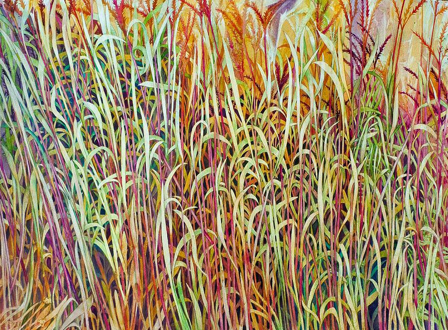 Prairie Painting - Prairie Grasses by Helen Klebesadel