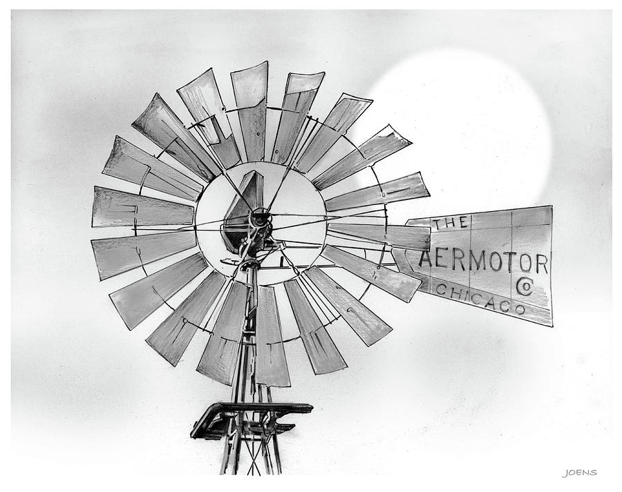 Aermotor Drawing - Prairie Sentinel by Greg Joens