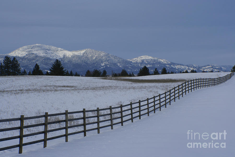 Fence Photograph - Prairie Snow by Idaho Scenic Images Linda Lantzy