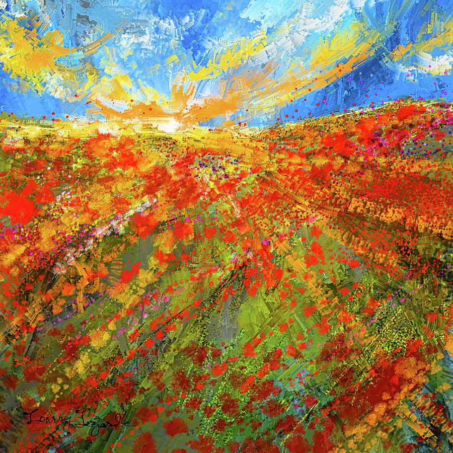 Prairie Sunrise - Poppies Art by Lourry Legarde