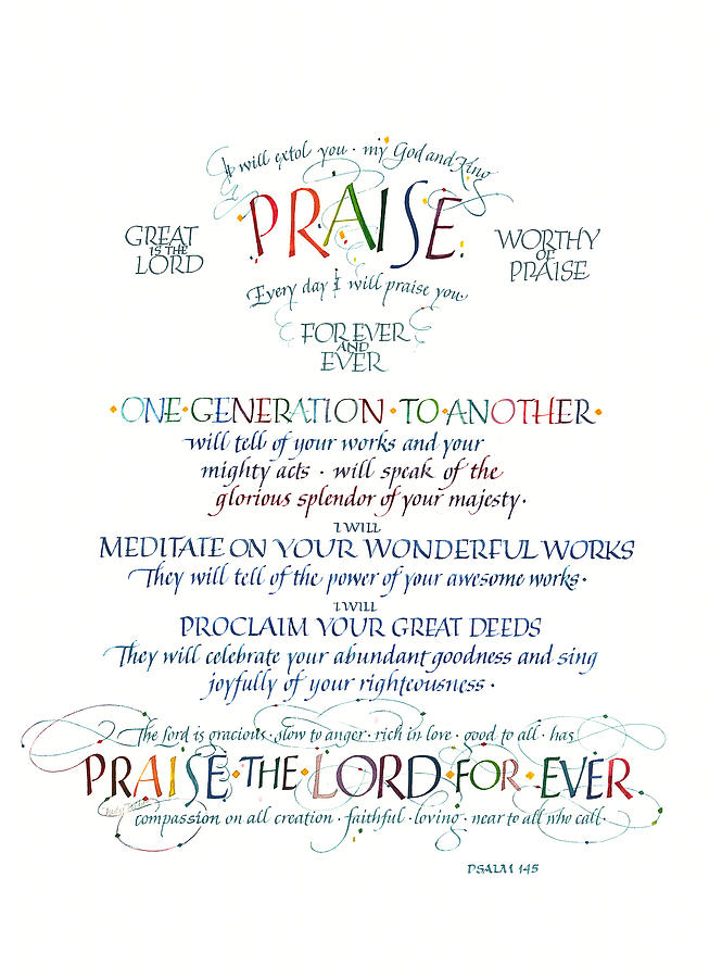 Christ Painting - Praise Psalm 145 by Judy Dodds