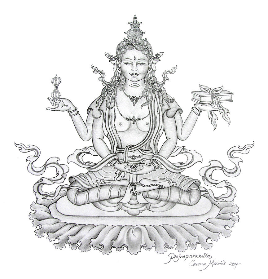 Prajnaparamita Perfection Of Wisdom Drawing By Carmen Mensink