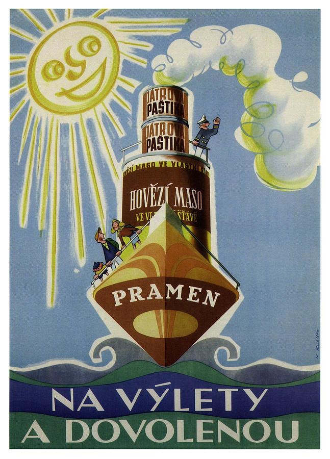 Pramen Hovezi Maso - Jatrova Pastika - Vintage Advertising Poster Mixed Media