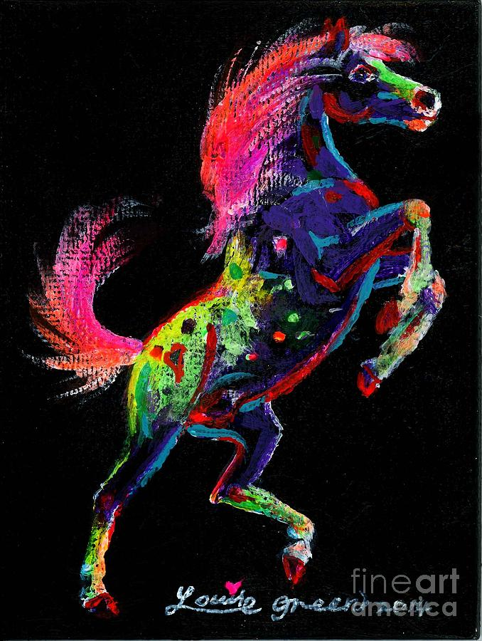 Prancing Horse Painting - Prancing Pony by Louise Green