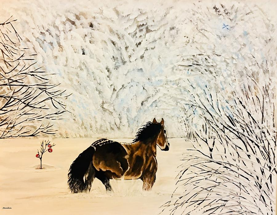 Horse Painting - Prancing Through The Snow by John Rankin