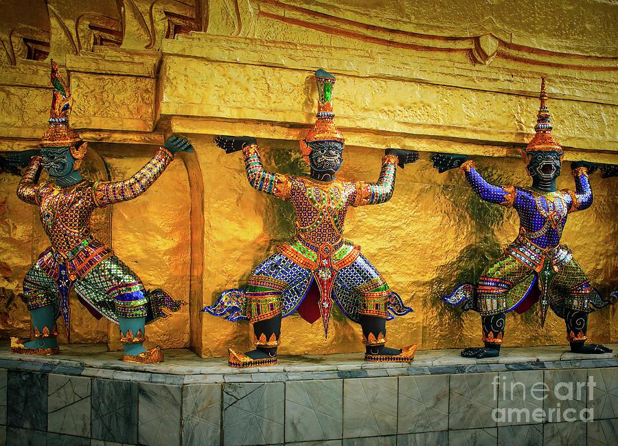 Asia Photograph - Prasatphradhepbidorn Golden Wall by Inge Johnsson