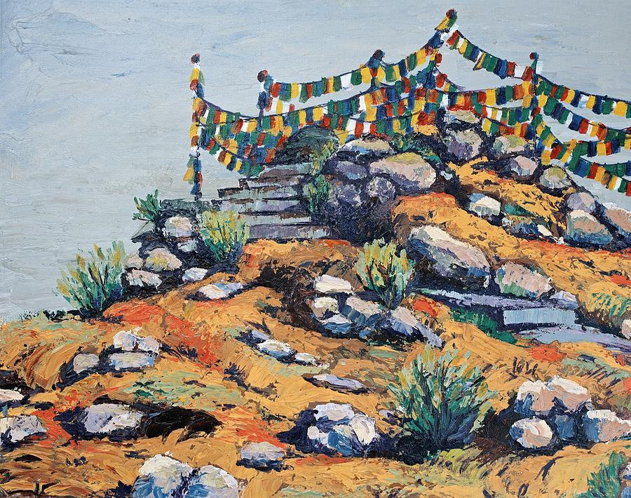 Buddhist Painting - Prayer Flags In The Mist by Art Nomad Sandra  Hansen