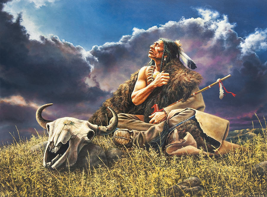 Native American Painting - Prayer For The Buffalo by Dan  Nance