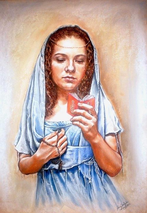 Pastel Drawing - Prayer by Gordana Dokic Segedin