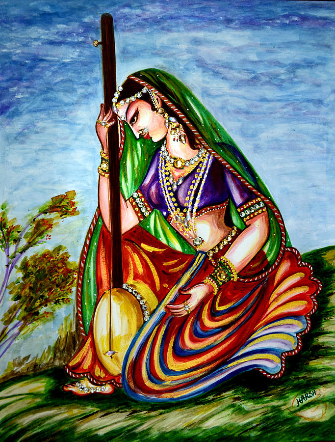 Meera Bai Painting - Krishna - Prayer by Harsh Malik