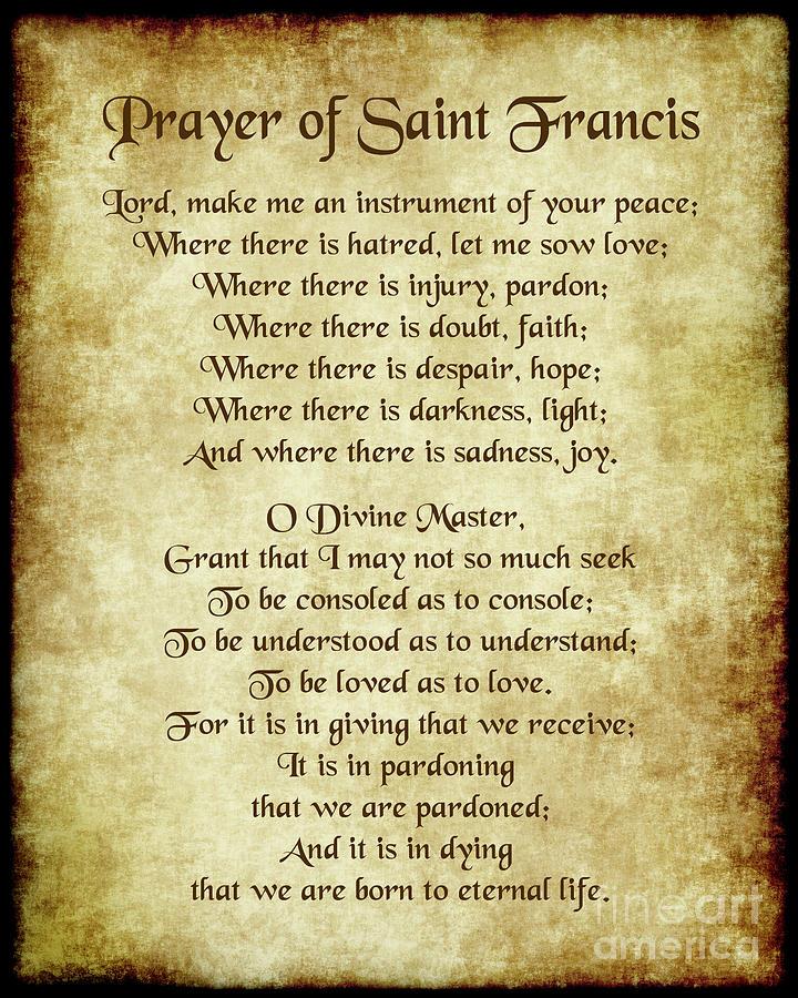 Prayer of St Francis - Antique Parchment Digital Art by Ginny Gaura