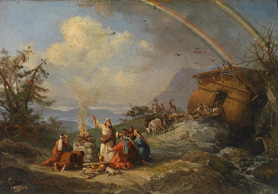 Prayer Of Thanks After Disembarking From Noahs Ark Painting By