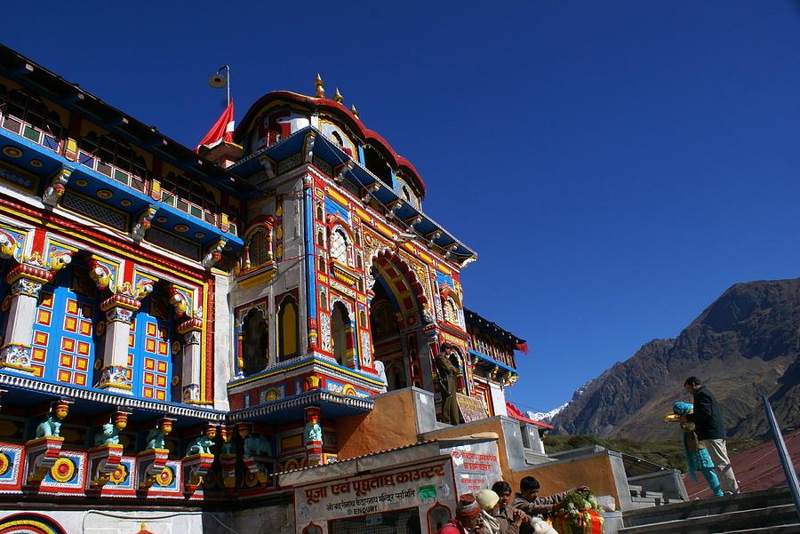 Landscape Photograph - Prayers At Badrinath Temple by Padamvir Singh