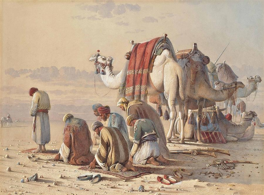 Camel Painting - Prayers In The Desert by MotionAge Designs