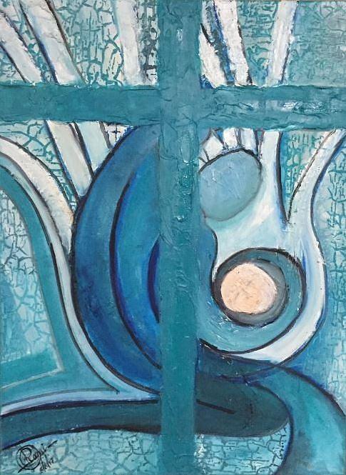 Cross Painting - Prayers by Rami Besancon
