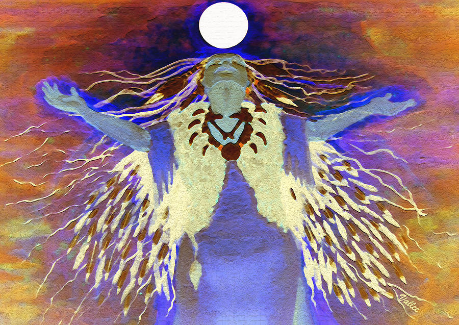 Spiritual Digital Art - Praying Goodnight To The Moon by Vallee Johnson