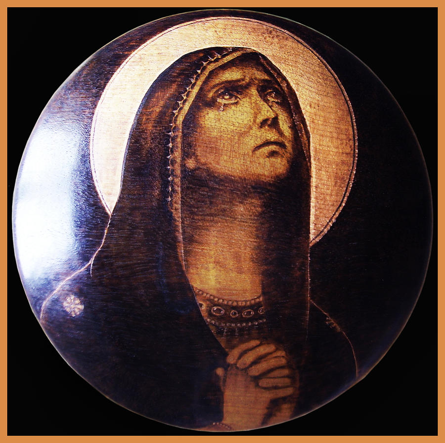 Religious Pyrography - Praying Madonna by Dino Muradian