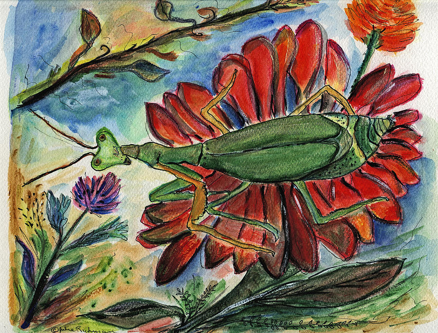 Insects Painting - Praying Mantis Welcome - Closeup by Julie Richman