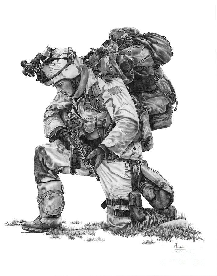 Pencil Drawing - Praying Soldier by Murphy Elliott