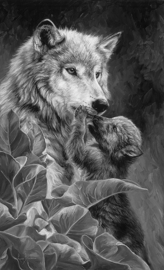 Wolf Painting - Precious Moment - Black and White by Lucie Bilodeau