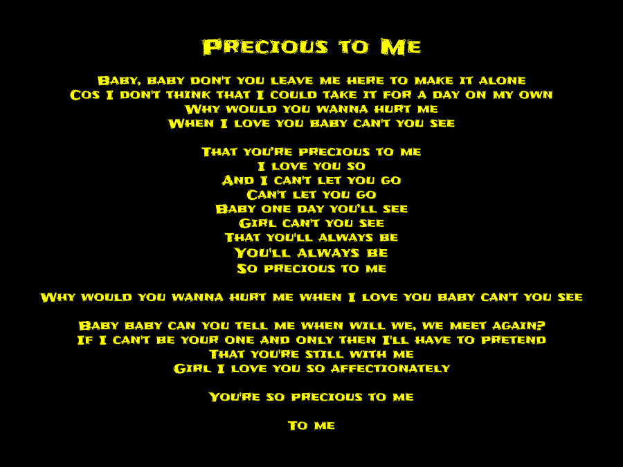 Lyric make your own lyrics : Precious To Me 10 - Song Lyrics Digital Art by Jenny Athanasiadis