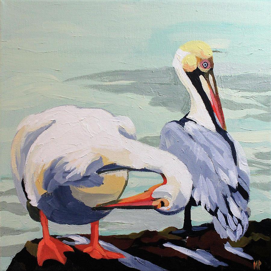 Preening Pelicans Painting