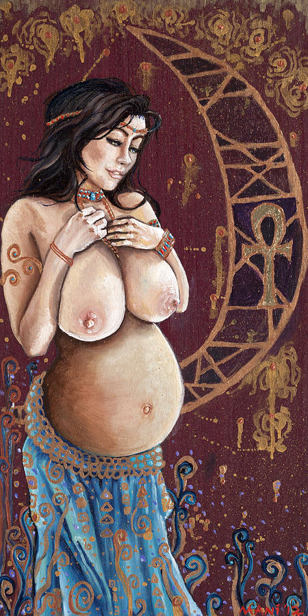 Art Painting Oil Art Painting Oil Lilith Goddess Wicca Pregnant Baby Mother Religious Original Eve Maternity Purple Heart Wood Panel Oil Paint Mother's Day New Baby New Born Painting - Pregnant Lilith by Mani Price