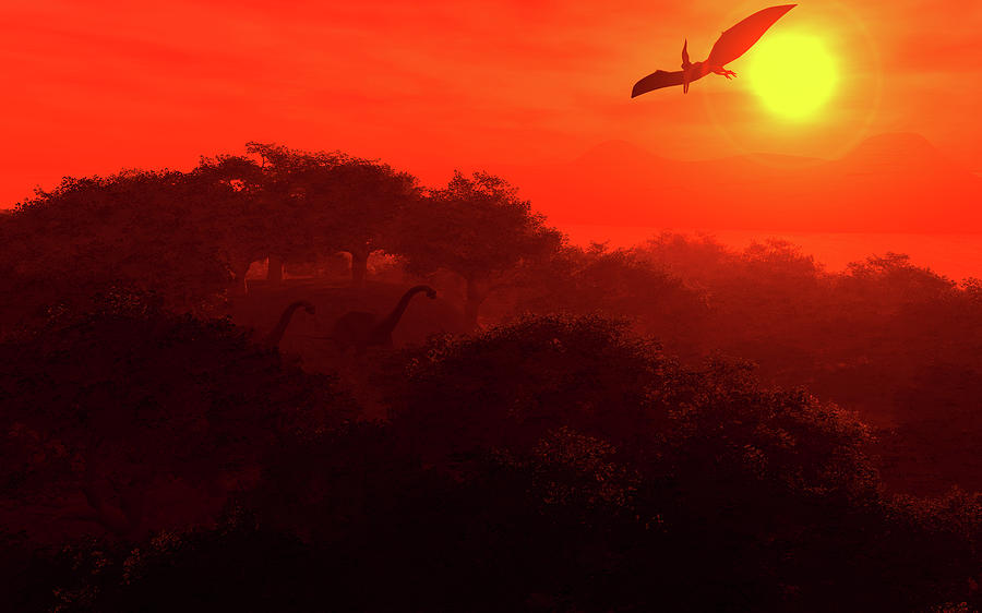 Fantasy Digital Art - Prehistoric Dawn by David Lane