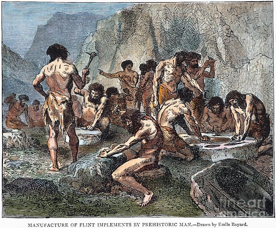Ancient Photograph - Prehistoric Man: Tools by Granger