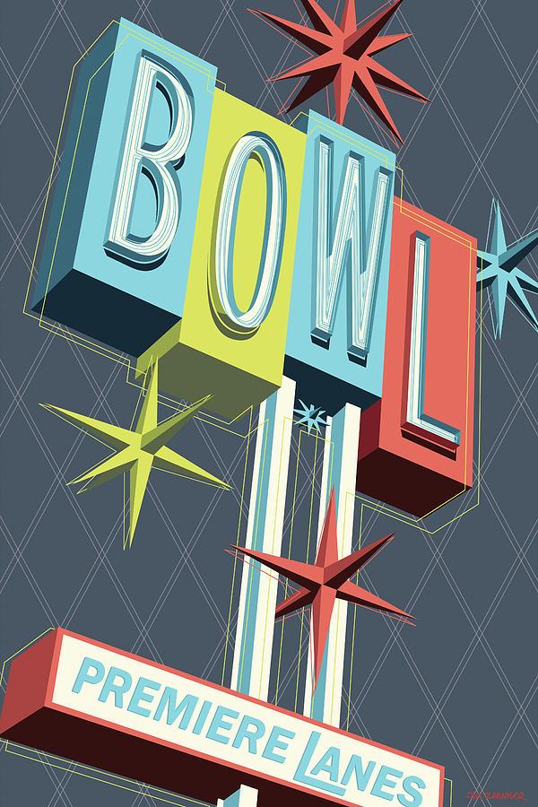 Googie Digital Art - Premiere Lanes Bowling Pop Art by Jim Zahniser