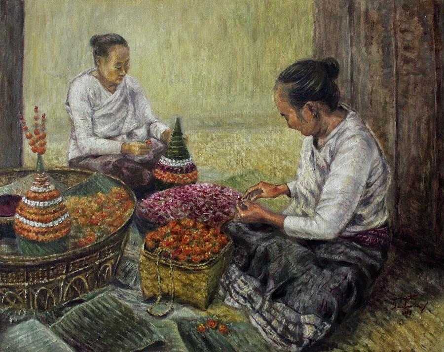 Preparing Flowers Offerings  by Sompaseuth Chounlamany