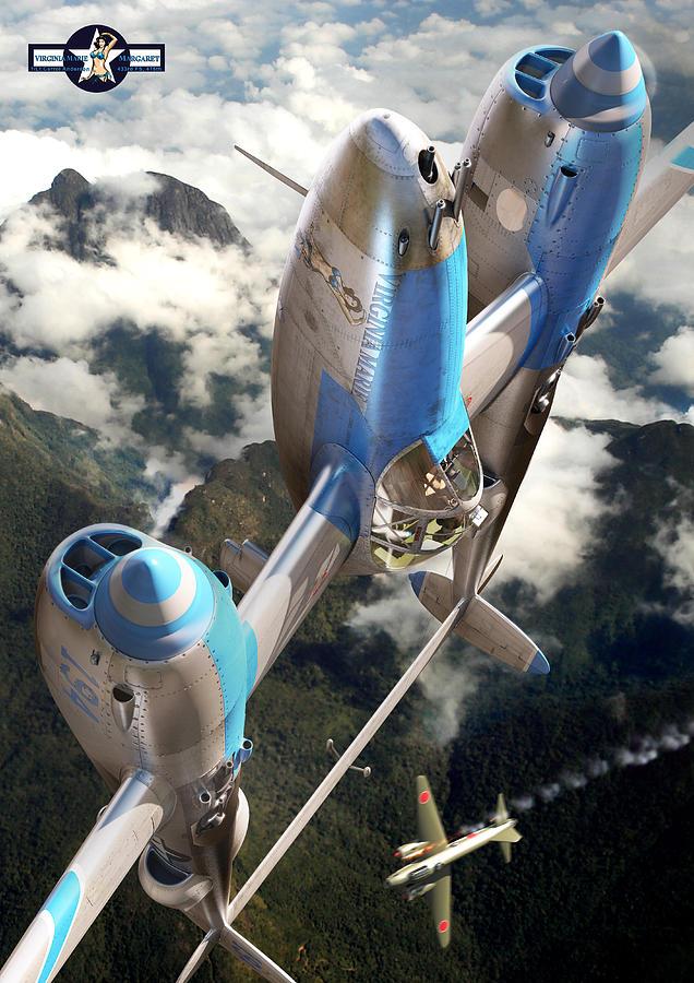 P-38 Digital Art - Preparing for the next dive by Gino Marcomini