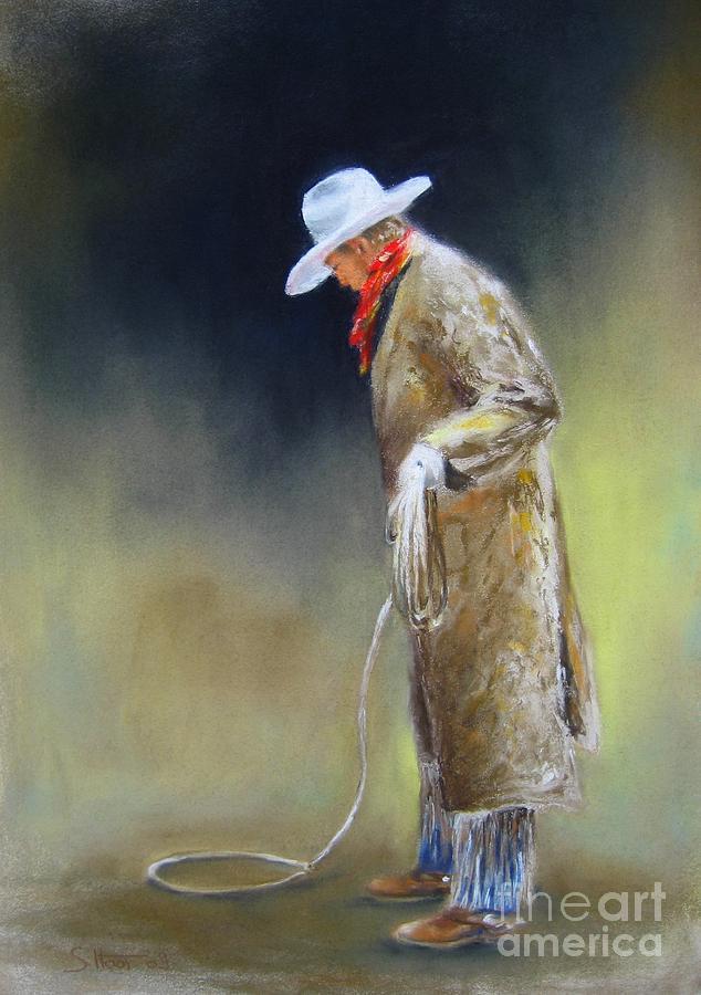 Cowboy Painting - Preparing The Rope by Sabina Haas