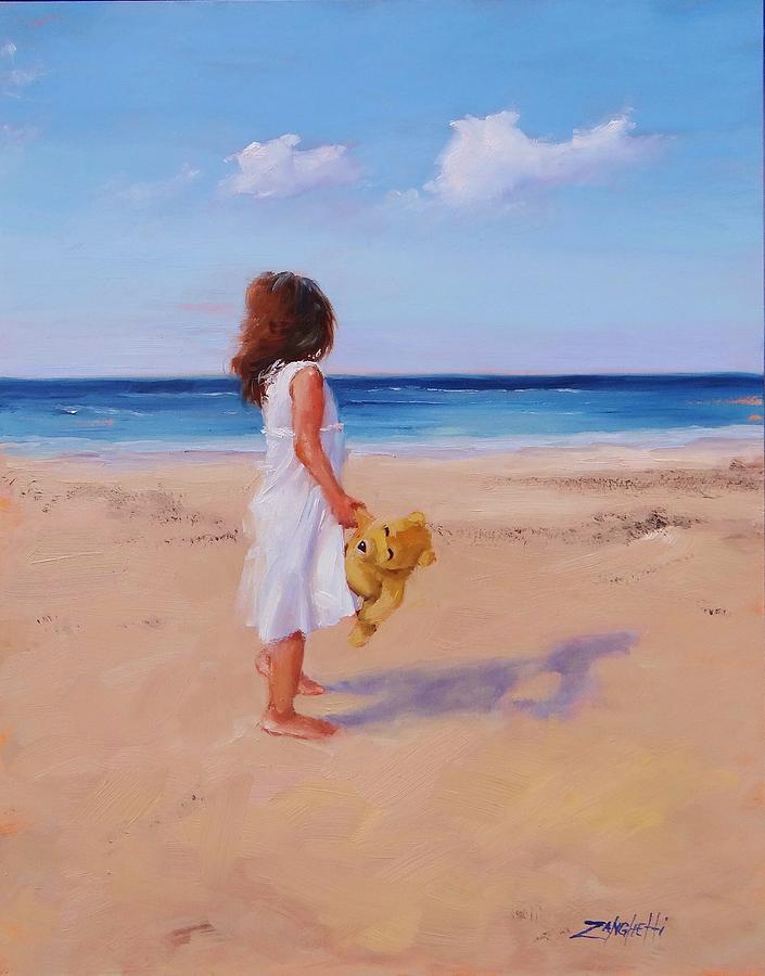 Little Girl Painting - Precious Moment by Laura Lee Zanghetti